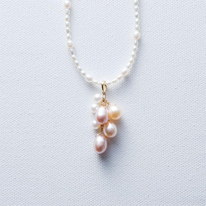 淡水真珠 ジャラペンネックレス K18 真鍮